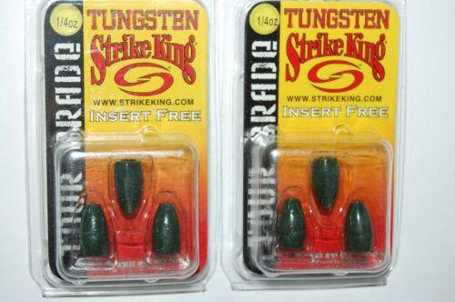 2 packs strike king tungsten worm weights 1//4oz watermelon red tour grade