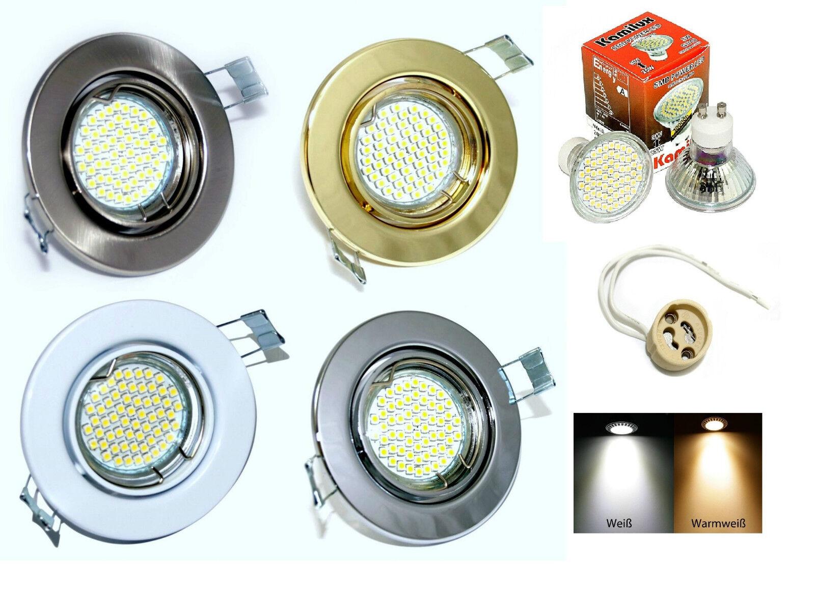 LED Einbau Lampe 230V Lia GU10 Fassung 10er SMD 3 Watt = 25 Watt