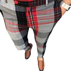 Mens Plaid Slim-Fit Pencil Pants Formal Casual Wedding Business Skinny Trousers
