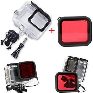 CARCASA-Funda-Protectora-Impermeable-45M-lente-de-filtro-de-buceo-rojo-para-GoPro-Hero-5