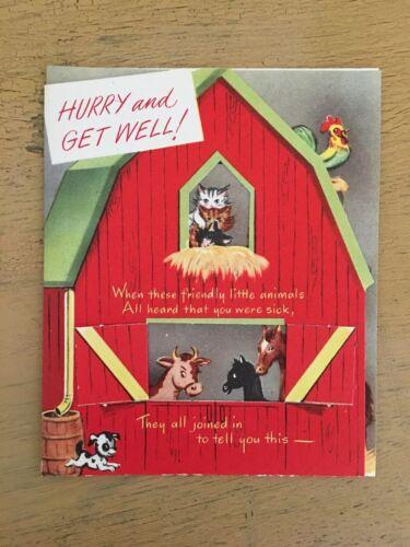 Vintage Get Well Card Farm Animals Barn Cut Out Unused