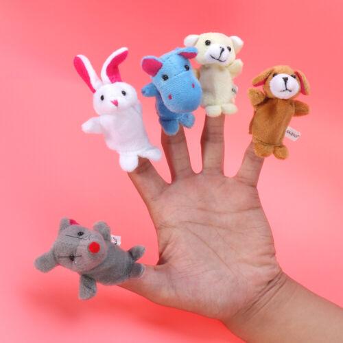 10pcs Cartoon Animal Finger Puppets Soft Velvet Dolls Props Toys for Kids Baby