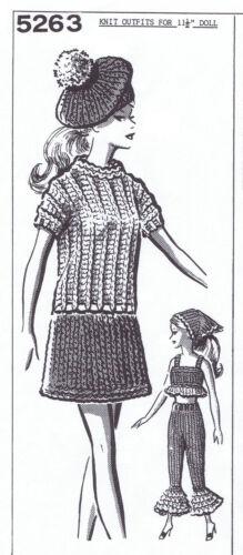 "11½/"" Doll Clothes DRESS BERET PAJAMAS Knit Retro MO Design 5263 KNITTING Pattern"