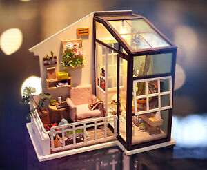 Rolife-DIY-Doll-House-with-Furniture-LED-Miniature-Balcony-Model-Kits-Toy-Girl