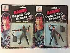 RAMBO Pencil Top Eraser figure Lot Black Dragon General Warhawk 1986 Arco 1980s