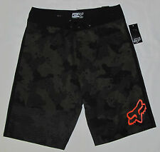 New Mens Fox Racing Metadata Green Camo Orange Boardshorts Swim Shorts Size 29