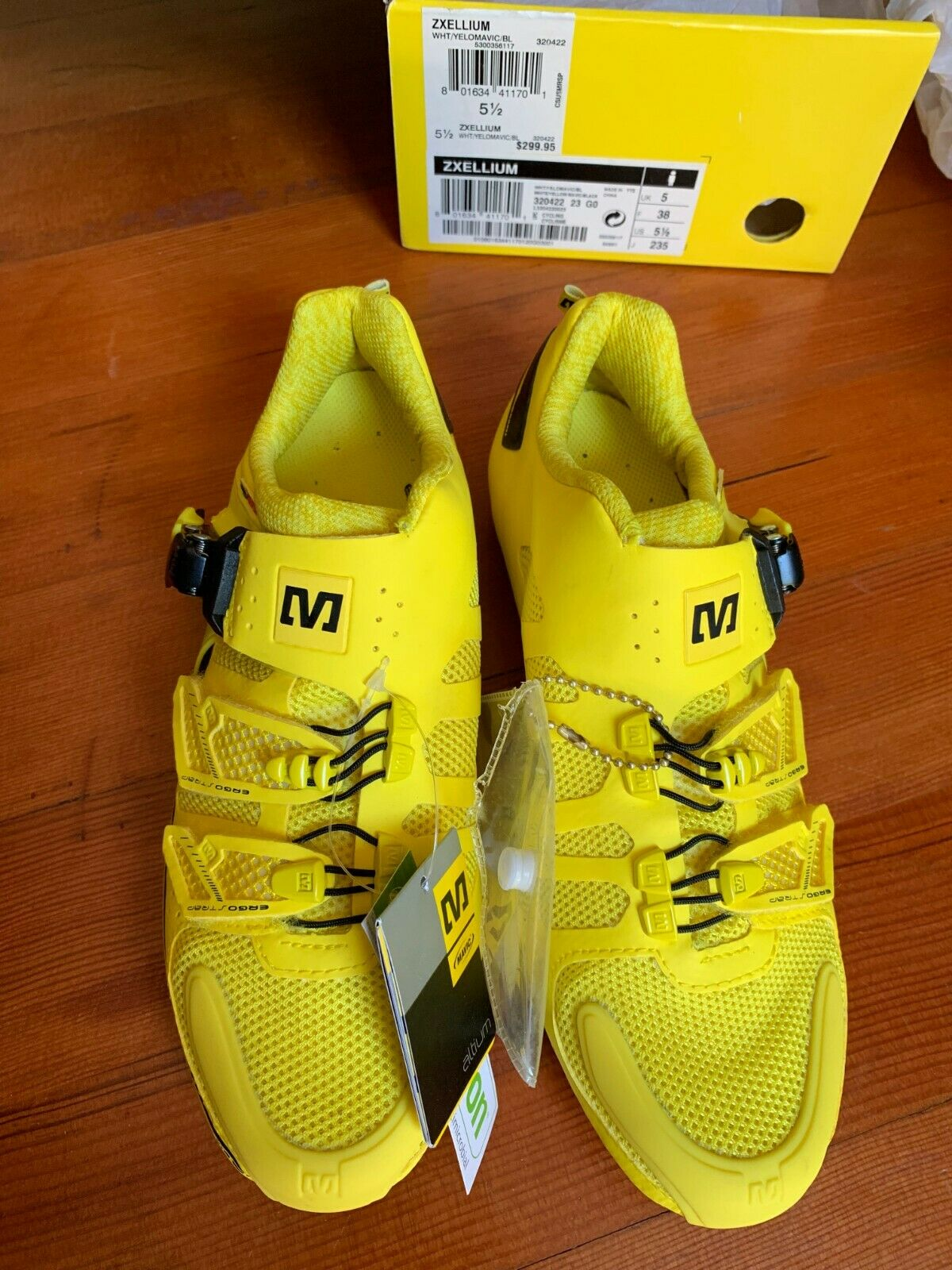 Mavic Zxellium Road Shoes - Yellow - New In Box - size 5.5 - Euro 38