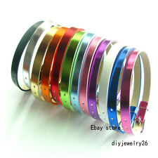 50pcs 8mm Mix  Metal PU leather Wristband Bracelet fit DIY  slide charms letters