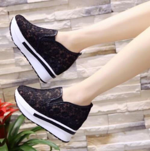 Ths01 Womens Hidden Heels Mesh Lace Sneakers Casual Pull On Sport Trainers Shoes