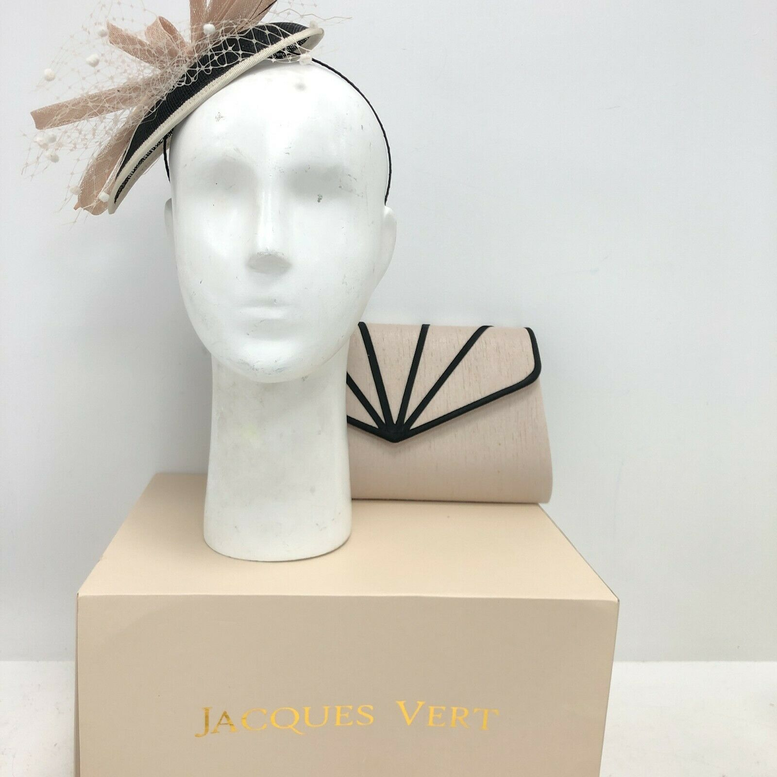 Jacques Vert bolso de embrague + Fascinator de la diadema os desnuda Negro Boda Fiesta 271062