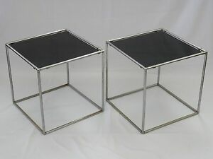 Pair Of Chic 70 S Poul Kjaerholm Style Black Glass Top