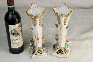 Antique Pair vieux paris porcelain vases floral decor