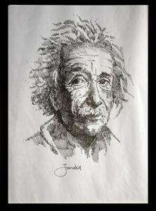 Albert Einstein - Original Portrait Line Drawing Signed by the Artist