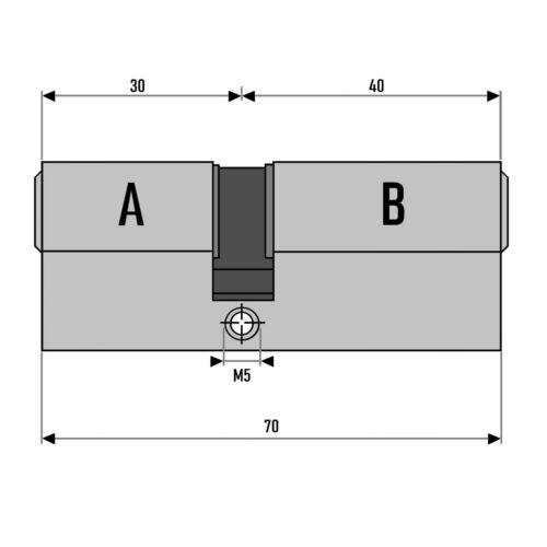 2x Profil Zylinder 70mm 30//40 Not Gefahr 10 Schlüssel gleichschließend Schloss