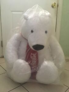 New Large Coca Cola Polar Bear Plush Stuffed Animal Giant 30 Inch