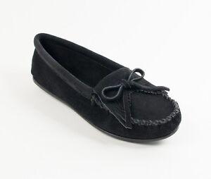 Minnetonka-Moccasins-Handmade-400-Women-039-S-Kiltyi-Hardsole-Black-Suede