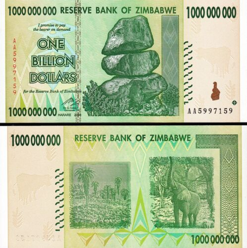 Zimbabwe 1 Billion 1,000,000,000 Dollars 2008 Prefix AA UNC P-83