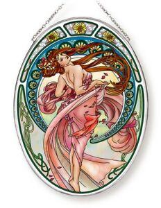 Art Nouveau Dance Sun Catcher AMIA Hand Painted Large Oval New Pink Dress
