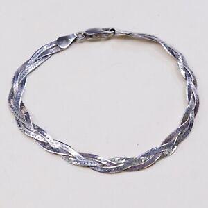 7-vtg-Sterling-Silver-Bracelet-Italy-925-Woven-Braided-Herringbone-Chain