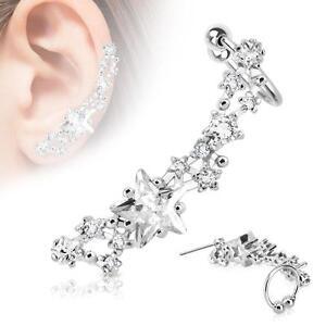Ear Cartilage Cuff Star Design Left Ear Lobe Rhodium Plated Earring