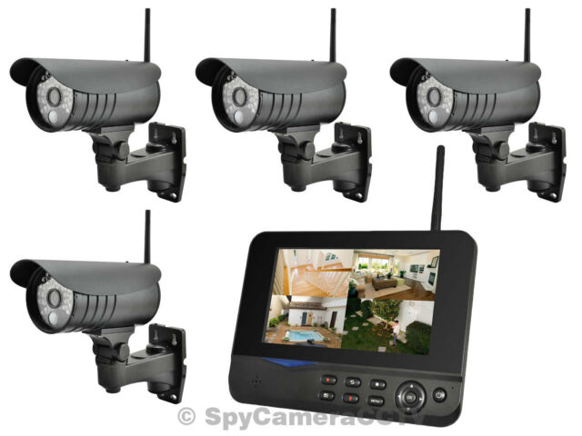 2.4GHz 4 Camera Outdoor Digital Wireless Security CCTV Kit DVR LCD Monitor PIR