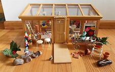 Vintage Dollhouse Garden Greenhouse Sunroom Filled with Huge Lot of Garden Minis