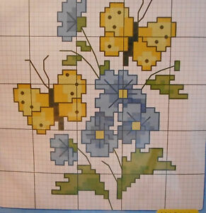 YELLOW-BUTTERFLIES-amp-BLUE-FLOWERS-PRE-PRINTED-Cross-Stitch-KIT-New