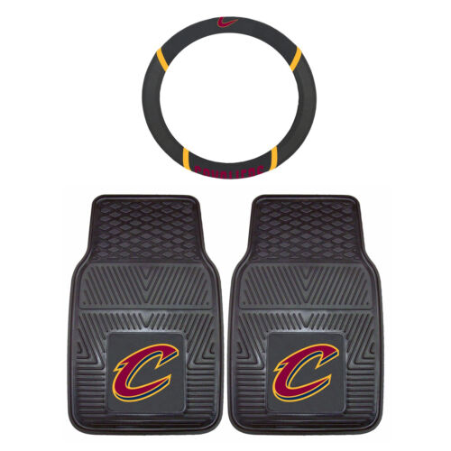 3 Pc. NBA Cleveland Cavaliers Floor Mats & Steering Wheel Cover Universal