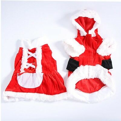 Outwear Coat Apparel Pet Christmas Clothes Dog Santa Claus Costume Puppy Hoodie