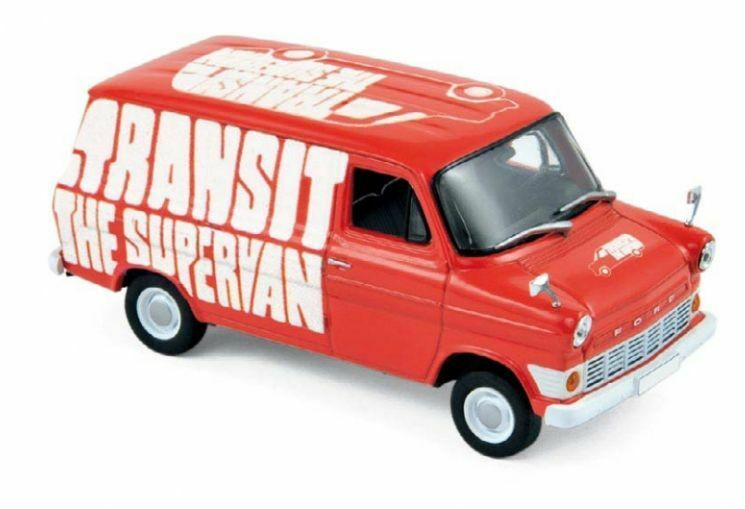 NOREV 270521, 1965 FORD TRANSIT VAN, RED PROMOTIONAL  THE SUPERVAN , 1 43 SCALE