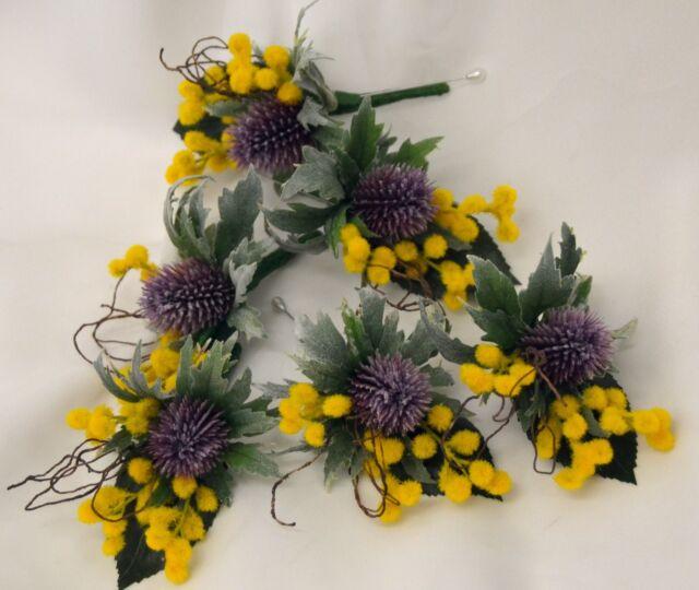5x silk wedding yellow wattle native flowers scottish thistle pin 5x silk wedding yellow wattle native flowers scottish thistle pin corsage flower mightylinksfo