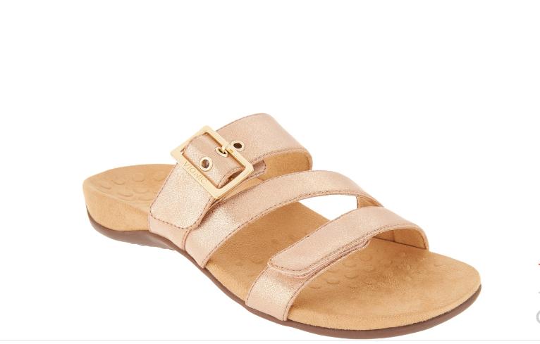NEW Vionic Orthotic Adjustable Slide Sandals - SKYLAR pink gold 12 Euro 44