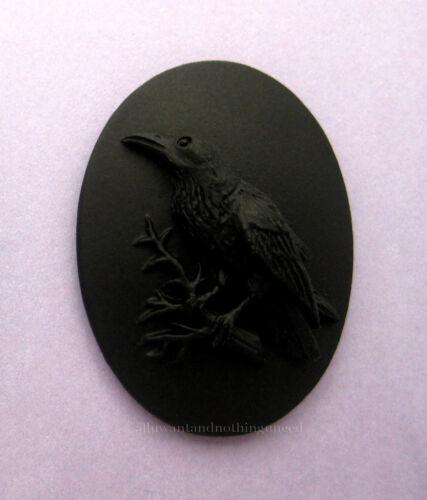 6 BLACK BIRD GOTH CROW RAVEN on BLACK 25mm x 18mm Costume Jewelry CAMEOS EMO