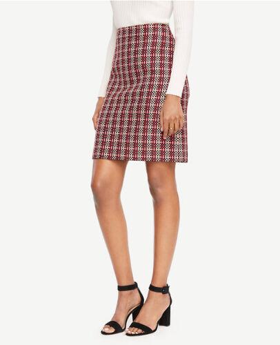 Ann Taylor Regular /& Petite Black /& Strawberry Blossom Grid Jacquard Skirt $98
