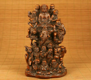 Big-old-boxwood-hand-carving-dragon-statue-figure-netsuke-collect-18-arhat