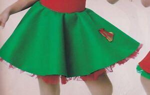 NWT-Felt-Christmas-Green-Skirt-with-red-Petticoat-Medium-child-elastic-waist