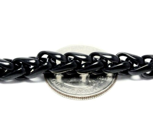 Mens Black Wheat Bracelet Stainless Steel Link 8.5 Inches Heavy Fashion Jewelry