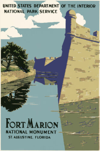 Vintage style quality art print POSTER.St.Augustine Fort Marion.Room Decor.681