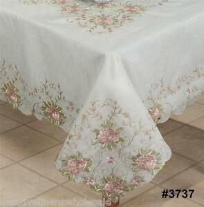 Image Is Loading Spring Embroidered Pink Rose Floral Cutwork Sheer  Tablecloth