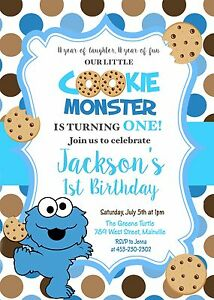 Details About Cookie Monster One Year 1st Birthday Party First Boy Invitation
