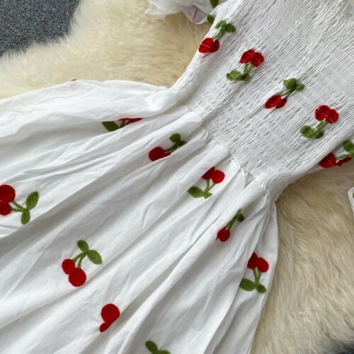 Details about  /Lady Girl Embroidery Dress Puff Short Sleeve Square Neck Strawberry Stretch Tops