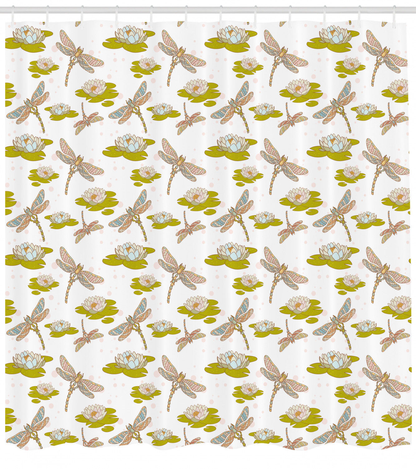 Dragonflies Pattern Shower Curtain Fabric Decor Set With Hooks 4 Grosses 981174