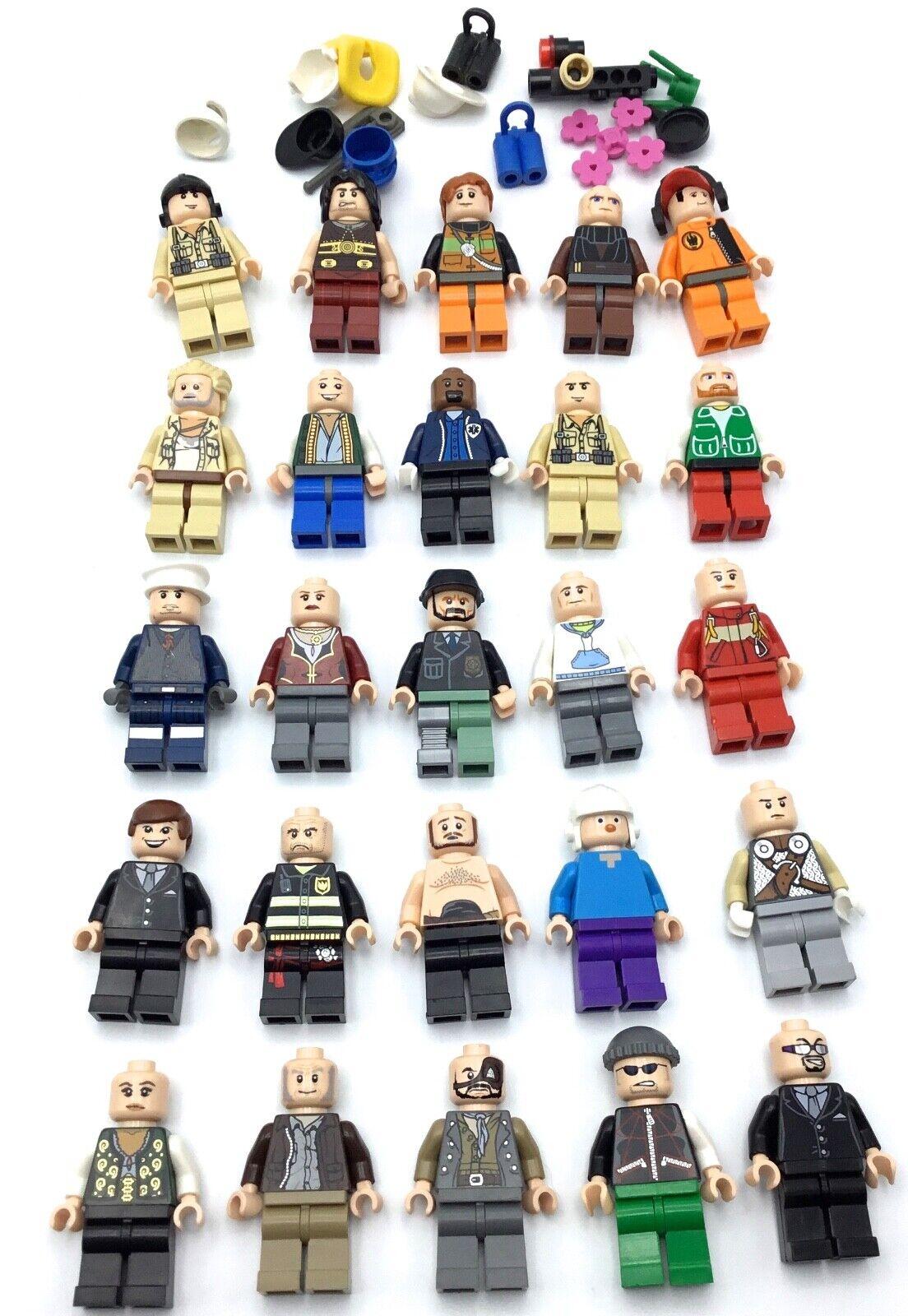 LEGO LOT OF 25 MINIFIGURES FLESH TONE PEOPLE MODERN CITY CITY CITY STAR WARS MIX 9d1181
