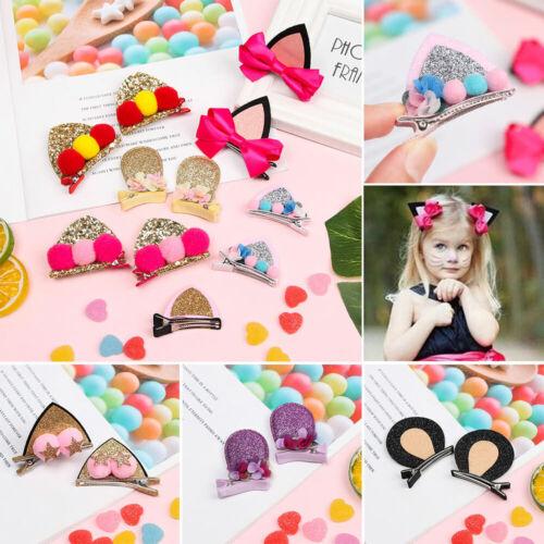 Felt Fabric Girls Flowers Hairpins Cat Ears Cute Hair Clips Bunny Barrettes