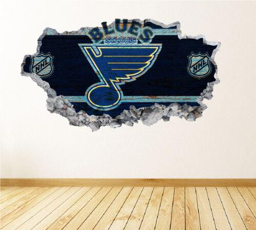 St Louis Blues Wall Art Decal équipe de Hockey 3D Smashed Wall Decor WL39