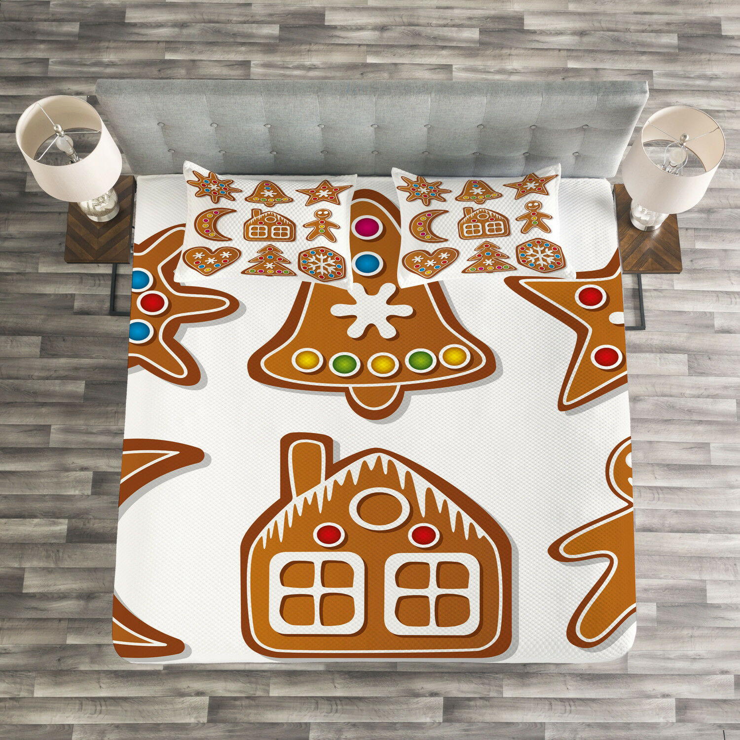 Gingerbread Man Quilted Bedspread & Pillow Shams Set, Sugar Biscuits Print