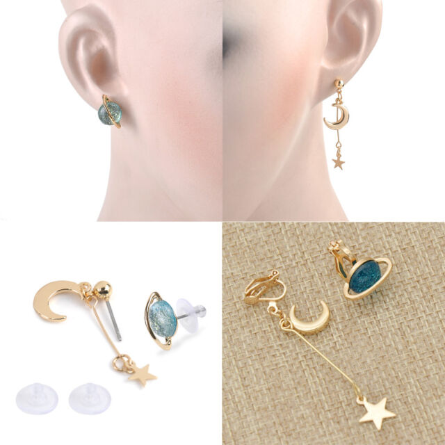 b2699631028 Girl Trendy Cute Blue Planet Earrings Moon Star Drop Dangle Jewelry  Accessories for sale online
