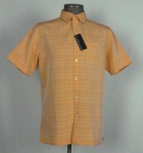 Mens Van Heusen Short Sleeve Button Front NWT SZ Medium Plaid Orange