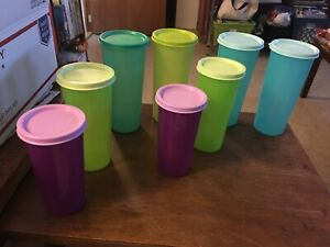 8-Vintage-TUPPERWARE-5107A-SHEER-9OZ-16-OZ-TUMBLERS-With-Seals