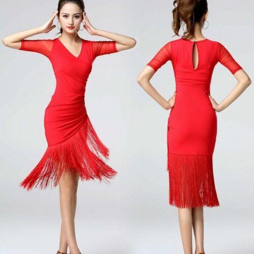 Women Latin Dance Dress Salsa V-neck Tango Ballroom Costume Tassel Rumba Fashion